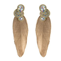Big feathers shaped Soutache Earrings for Ladies -Gold Color