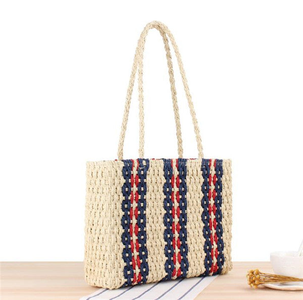 Women's Vintage Causal Tote Straw Bag Colorful Striped Beach Straw Bag