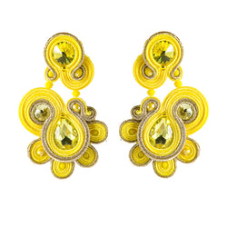 Ethnic Style Soutache Earring Leather Drop Earrings for Women-  Yellow Color