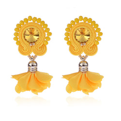 Soutache Big Drop Leather Hanging Earrings Jewelry for Women-Yellow Color