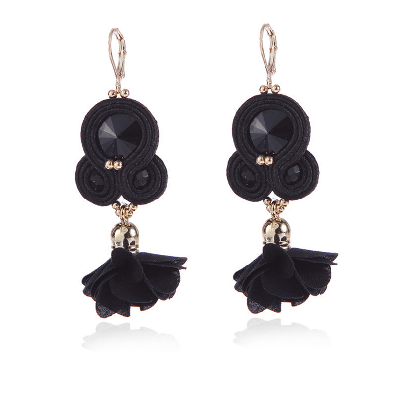 Handmade Soutache Long Hanging Earring Jewelry for Women-Black Color