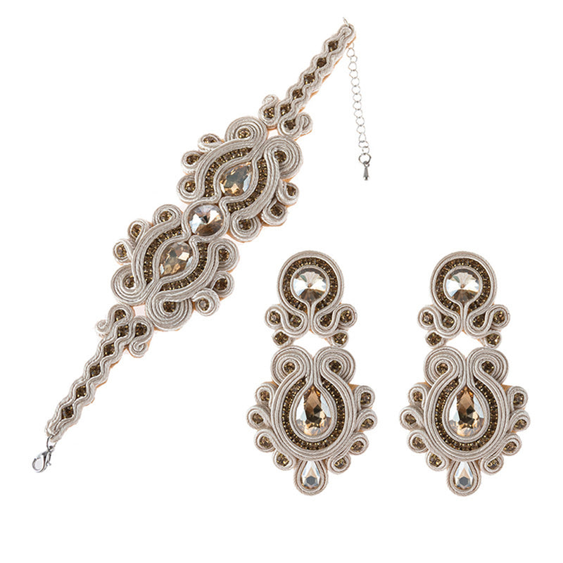 Soutache Leather Drop Earrings Big Hanging Earring Party