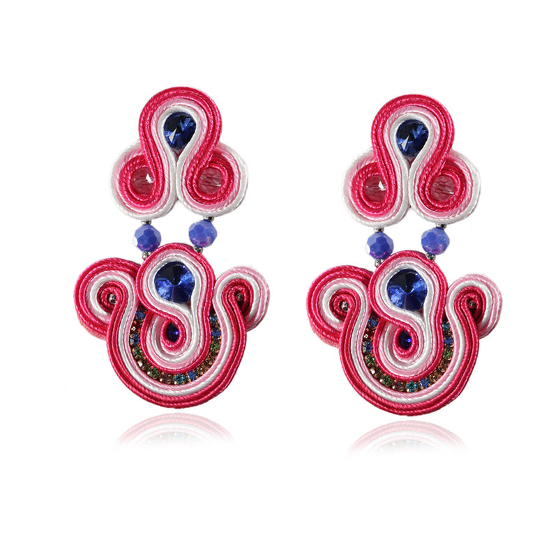 Party Fashion Jewelry Long Drop Big Leather Soutache Earrings For Women-Red Color