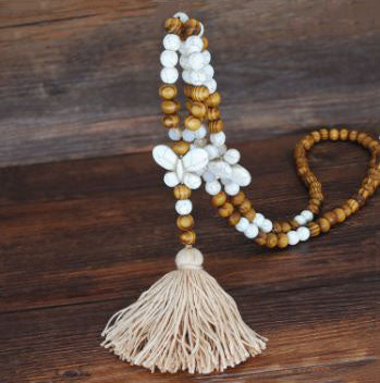 Handmade Wooden Beads Long Necklace & Pendant - Butterfly Shape with Brown Tassel