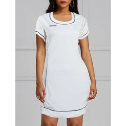 Body Contouring Half-Sleeve Long Polo Top - White