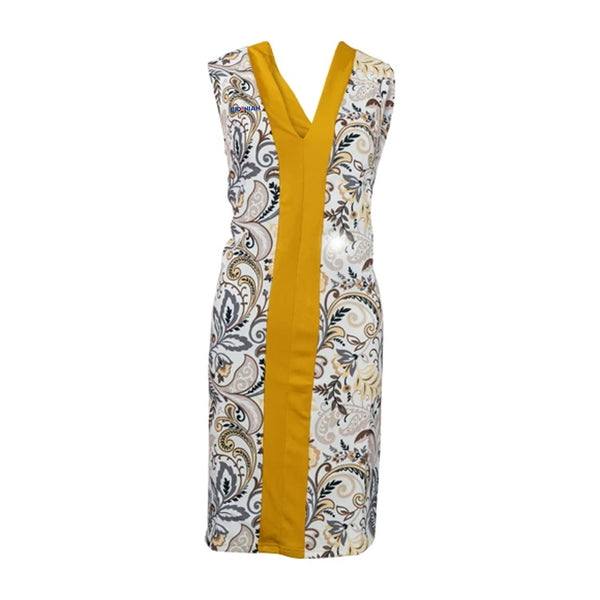 Casual Sleeveless Long Top With Golden Stripe & Amazing Body Print