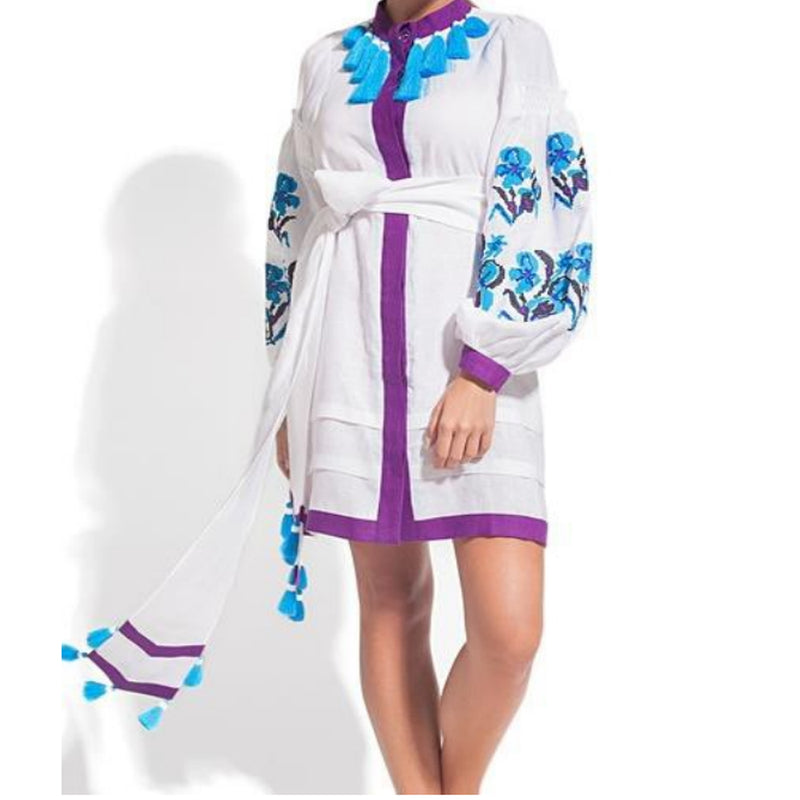 Women's Long sleeves White Dress with Multicolor Embroidery 400 Pcs