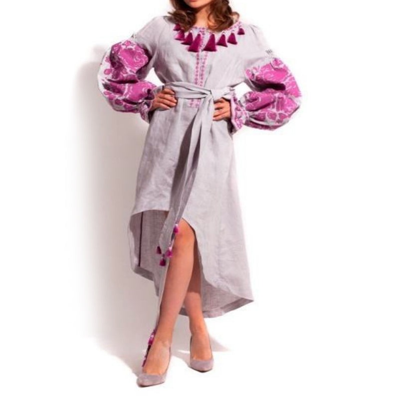 Women's Long sleeves Light Purple Dress with Pink Embroidery 100 Pcs