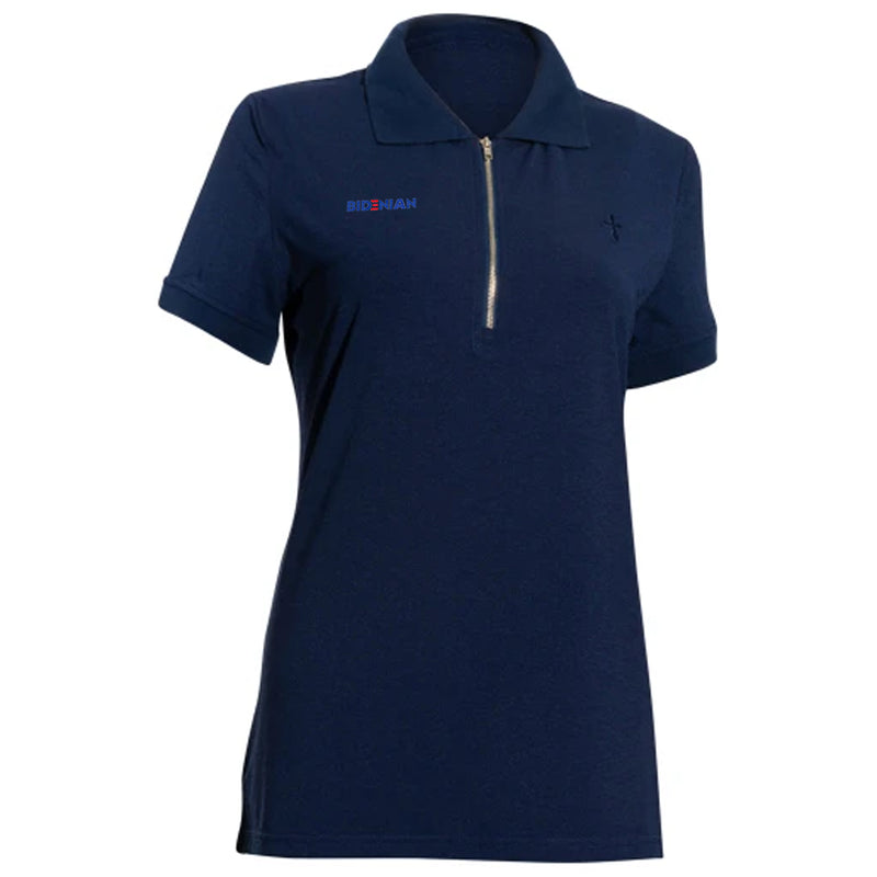 Blue Front Zip Polo With Cross Logo UV