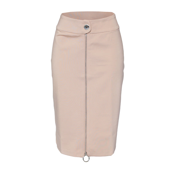 Rapheeze Front Zipline Tan Midi Pencil Skirt - Women