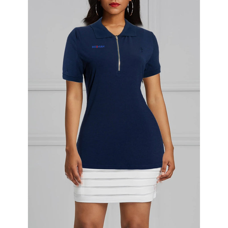 Front Zip Body Contouring UV Protection Polos Top-Navy