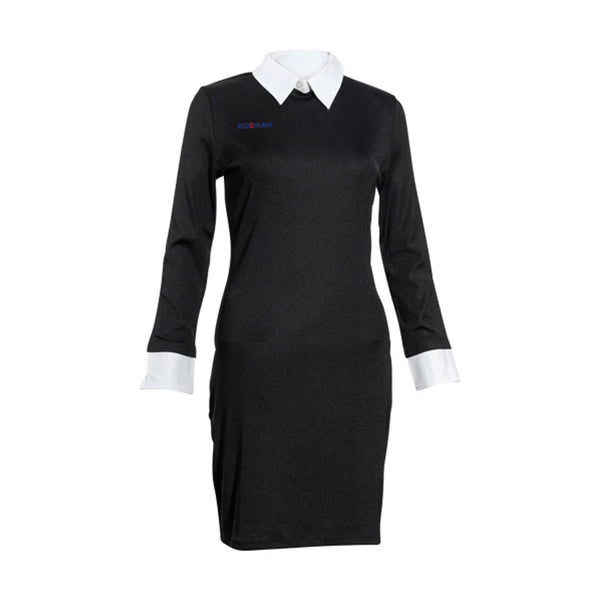 Dress Length High Neck Body Contouring White Collar Shaper Dress