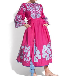 Women's Long sleeves Pink Dress with Light Blue Embroidery 400 Pcs