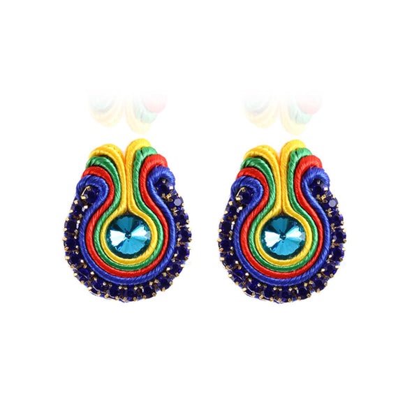 Rapheeze Soutache D Earring for Female Crystal Decoration-Blue Color