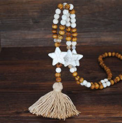 Handmade Wooden Beads Long Necklace & Pendant - Star Shape with Brown Tassel