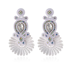 Soutache Ethnic Earrings for Women with Crystal Decoration Drop Earring- White Color