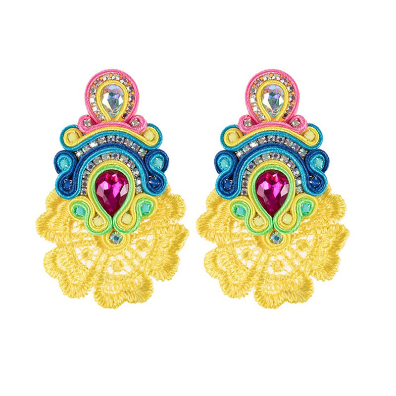 Large Crystal Pendant Soutache Earrings for Female-Yellow Color
