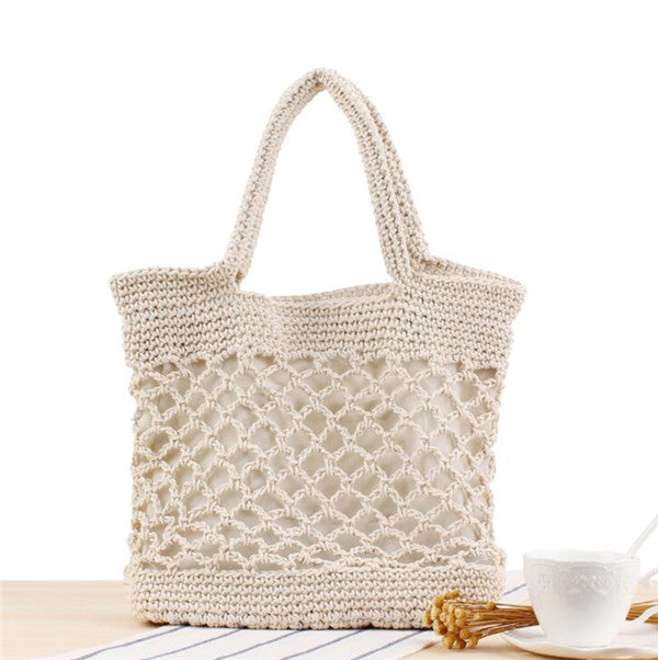 Women's Cotton Rope White Handbag Hollow Out Beach Straw tote Bag