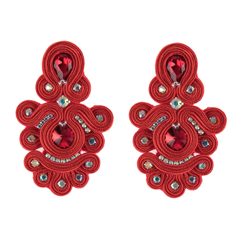 Decorative crystal charm long strap earrings for women's -Red Color