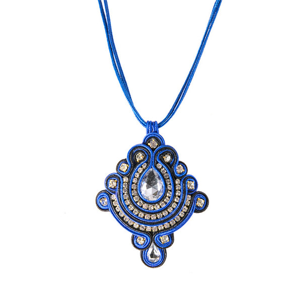 Rhinestone Decoration Ethnic style Soutache Pendant Necklace for Women-Blue Color