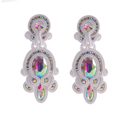 Big Hanging Leather Soutache Drop Earrings for Women- White Color