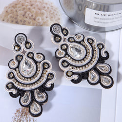 Crystal decorated Ethnic Style handmade Soutache Earrings for Women-Black Color