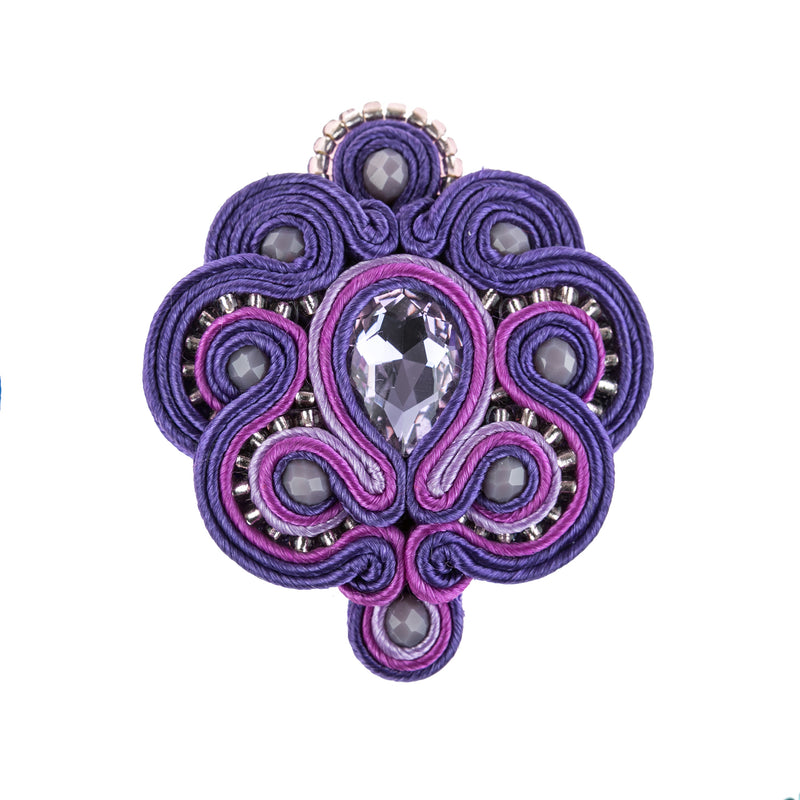 Soutache Brooch Pin Dress Coat Chic for females-Purple Color