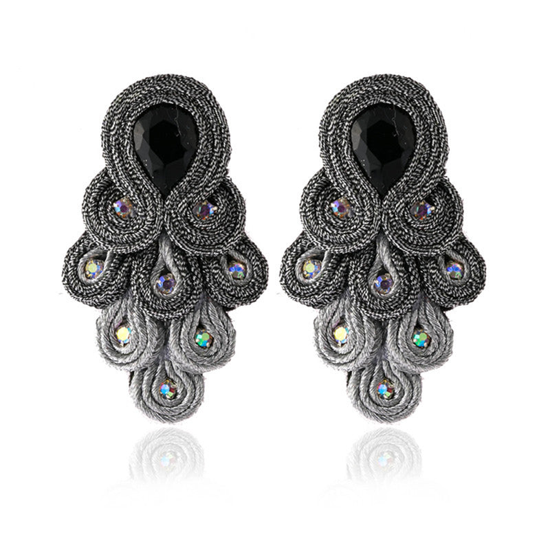 Peacock Tail Shape Soutache Earring for women-   Grey Color