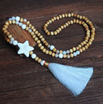 Women's White Thread Ethnic Style Handmade Wooden Beads Necklace - Star Shape with White Tassel