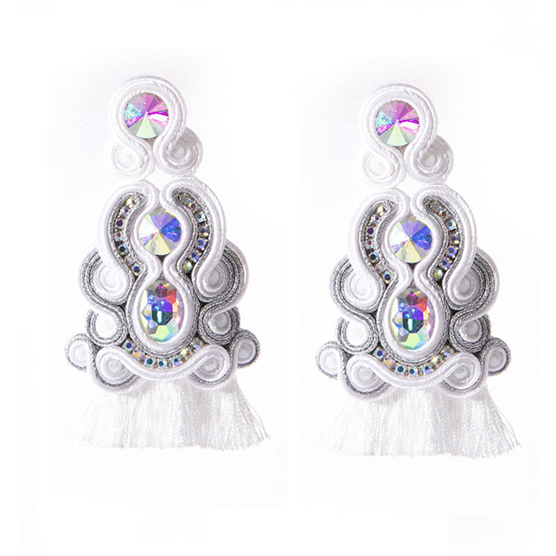 Ethnic Style Leather Soutache Earrings For Women- White Color