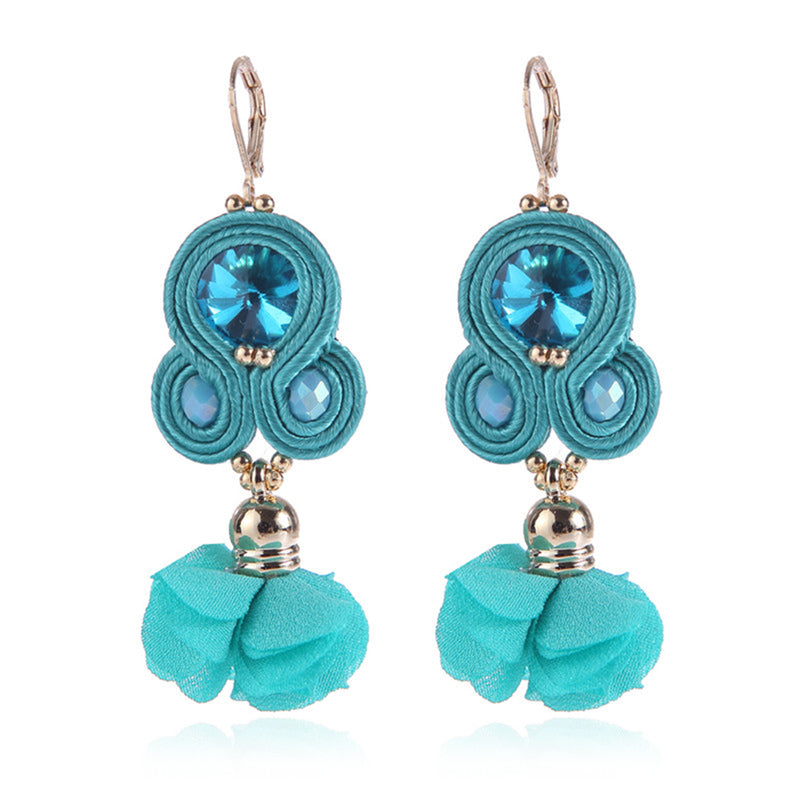 Handmade Soutache Long Hanging Earring Jewelry for Women-Sky Blue Color