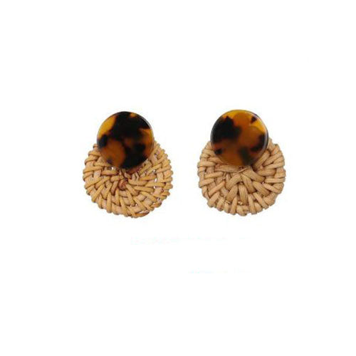 Hollow Bamboo And Rattan Handmade Earrings For Girls