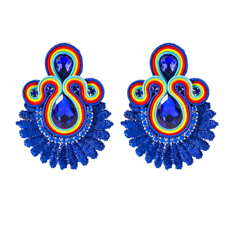 Crystal Decoration Drop Earring Soutache Earrings Jewelry for Female - Blue Color