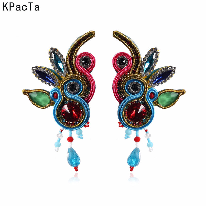 Handmade Soutache Long Hanging Leather Earrings for Women-SkyBlue Color