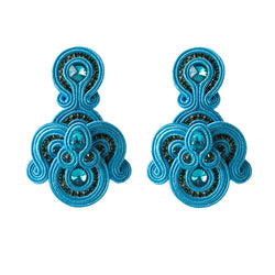 Bohemian Long Tassel Leather Earrings for Ladies Big Pendant Earrings- Sky Blue Color