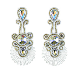Ethnic Style Leather Rhinestone Retro Soutache Earrings for Female-White Color