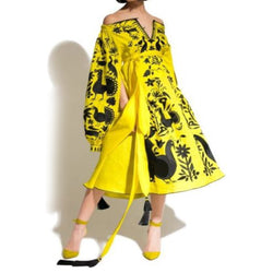 Women's Long sleeves Yellow Dress with Black Embroidery 400 Pcs