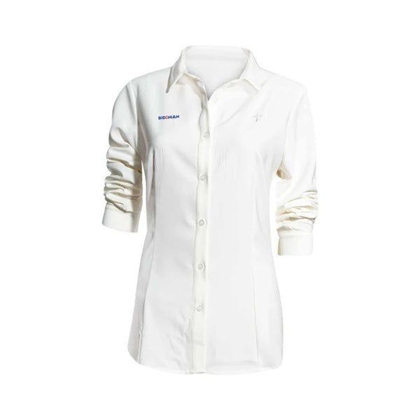 Long Sleeve Cross Logo White Dress Shirt Spandex Cotton