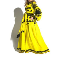 Women's Long sleeves full length Yellow Dress with Black Embroidery 400 Pcs