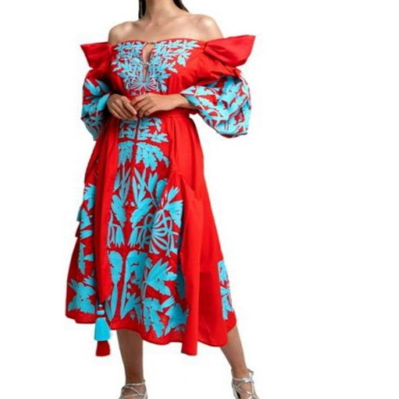 Women's Long sleeves Red Dress with Light blue Embroidery 12 Pcs
