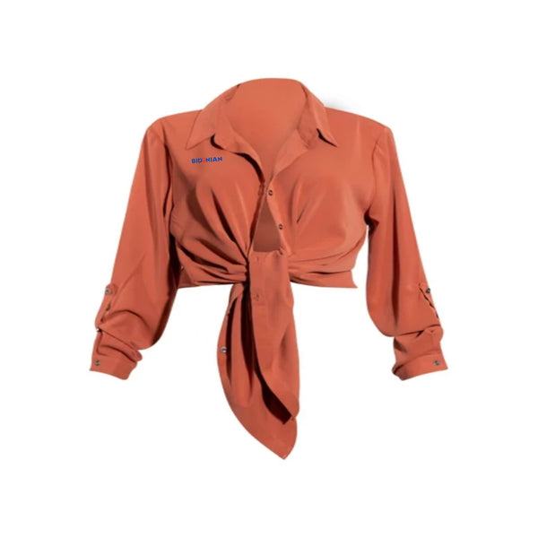 Ladies Elastane Soft Cotton Dress Crop Shirt- Off Red
