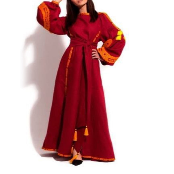Women's Long sleeves Red Dress with Orange and Yellow Embroidery 12 Pcs