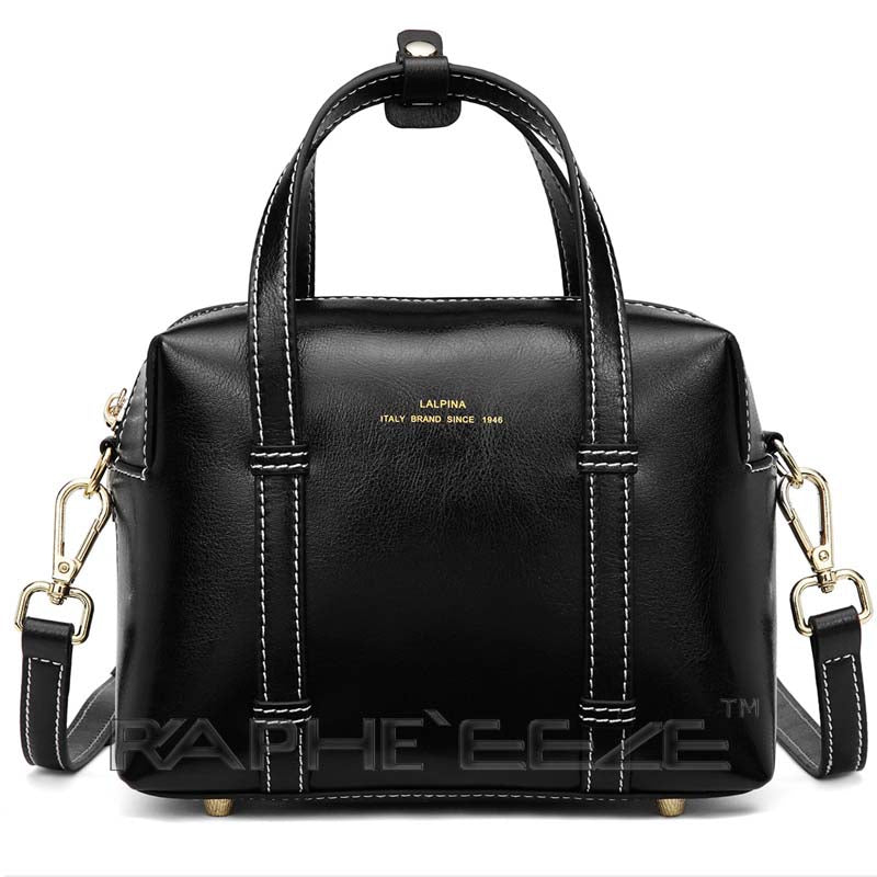 Classic Box Style Genuine Leather Tote Bag for Woman - Black Color