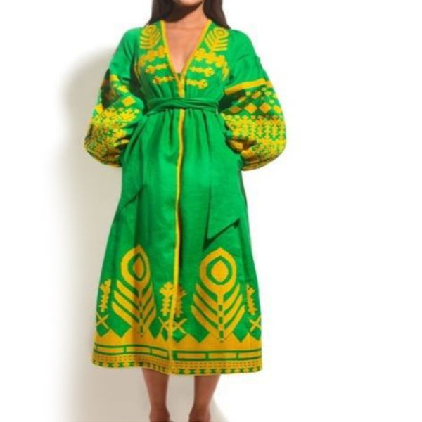 Women's Long sleeves Green Dress with Yellow Embroidery 12 Pcs