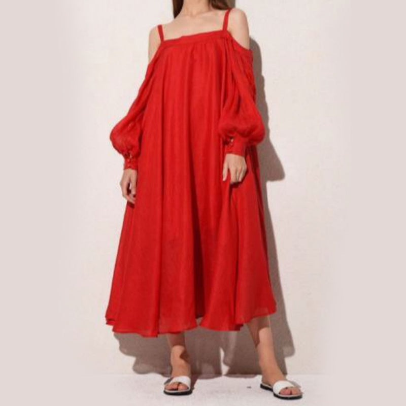 Women's Long sleeves Red Dress 12 Pcs