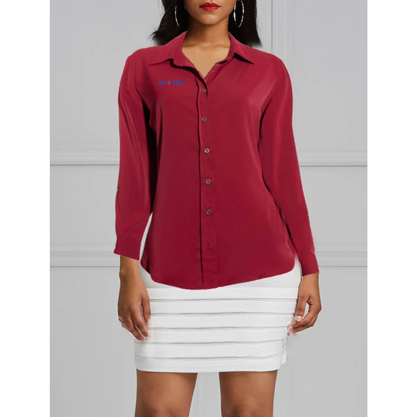 Long Sleeve Ladies Elastane Soft Cotton Dress Shirt-Burgandy Red