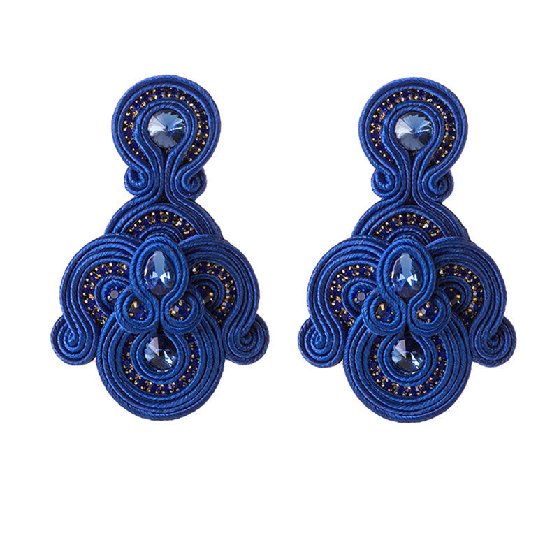 Bohemian Long Tassel Leather Earrings for Ladies Big Pendant Earrings- Blue Color