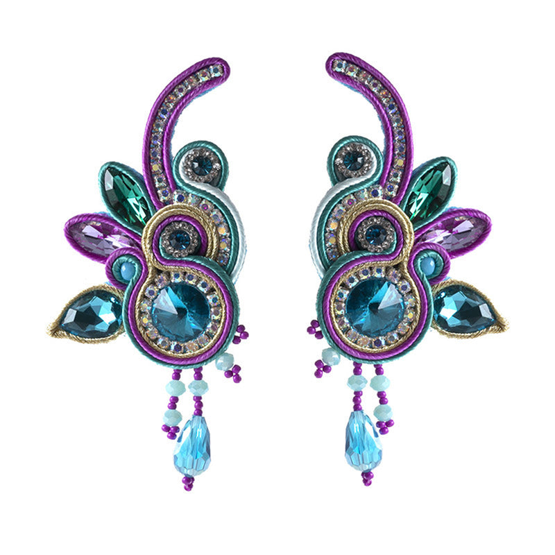 Handmade Soutache Long Hanging Leather Earrings for Women-Purple,Blue Color