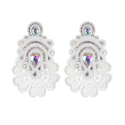 Large Crystal Pendant Soutache Earrings for Female-White Color