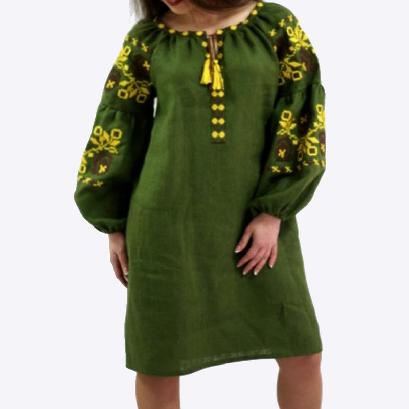 Women's Long sleeves Green Dress with Yellow Embroidery 400 Pcs